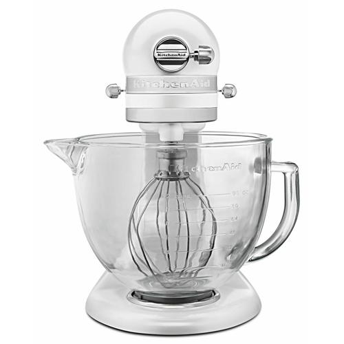 Gallery - Artisan® Design Series 5 Quart Tilt-Head Stand Mixer with Glass Bowl - Frosted Pearl White