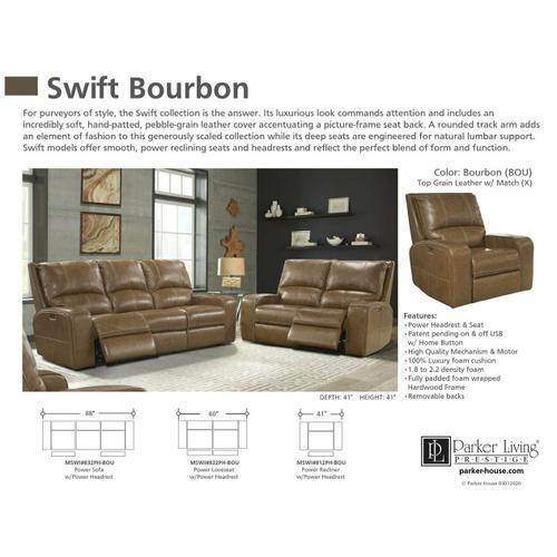 SWIFT - BOURBON Power Loveseat