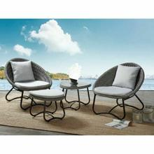 ACME Elof 4Pc Patio Set - 45055 - Fabric & 2-Tone Gray Wicker