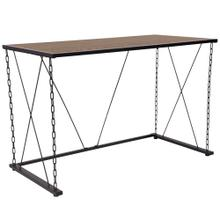 See Details - Antique Wood Grain Finish Computer Desk with Chain Accent Metal Frame