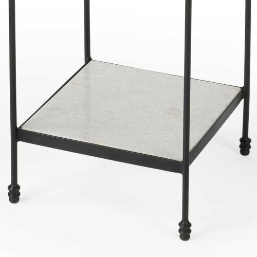 Butler Specialty Company - This plain and simple Larkin accent table is nothing less than fashionable. The black iron legs support smooth white marble slabs. This table is functional and allows for your needs, in style and space.