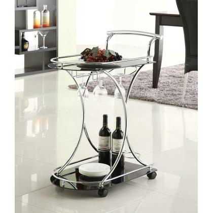 See Details - Chrome and Black Serving Cart