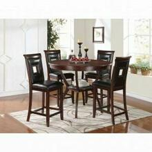 ACME Oswell 5Pc Pack Counter Height Set - 71599 - Black PU & Cherry