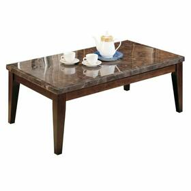 ACME Danville Coffee Table - 07142B - Black Marble & Walnut