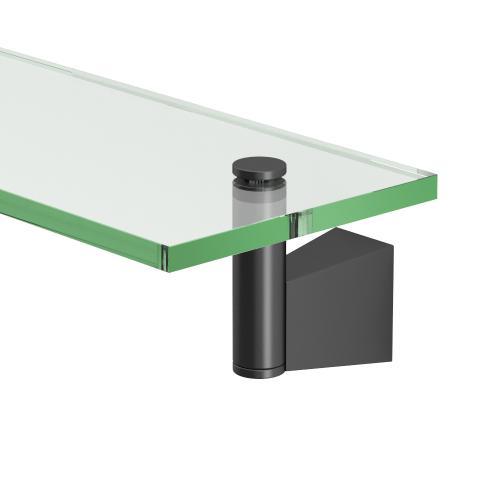 Bleu Glass Shelf in Satin Nickel