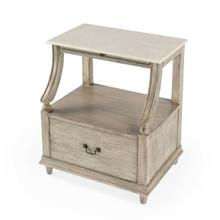 See Details - This charming nightstand is a near-perfect bedside companion ™ it stores nearly everything you want just within arm's reach. It features a spacious display shelf to charge a phone or tablet, a pull-out tray to place that morning cup of coffee, and an oversized drawer to tuck away books and other essentials. It is available in white or gray finishes with antique sable finished brass hardware. Crafted from mahogany wood solids, engineered wood products, and mahogany veneer, it is exquisitely topped with white Melati marble for a sense of timeless elegance. Also suitable for use as a chairside table.