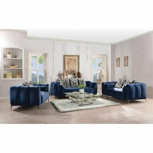 ACME Hellebore Sofa w/5 Pillows - 50435 - Blue Velvet