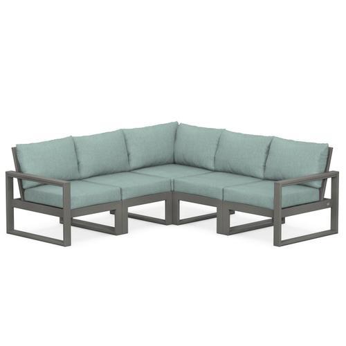 Polywood Furnishings - EDGE 5-Piece Modular Deep Seating Set in Slate Grey / Glacier Spa