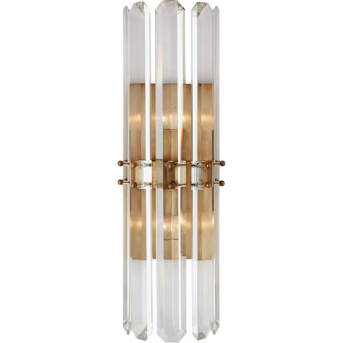 AERIN Bonnington 2 Light 8 inch Hand-Rubbed Antique Brass Sconce Wall Light, Tall