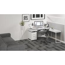 See Details - Centro 6402 Return in Satin White Painted Oak Grey Glass