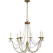 View Product - E. F. Chapman Marigot 6 Light 33 inch Antique-Burnished Brass Chandelier Ceiling Light in Seeded Glass