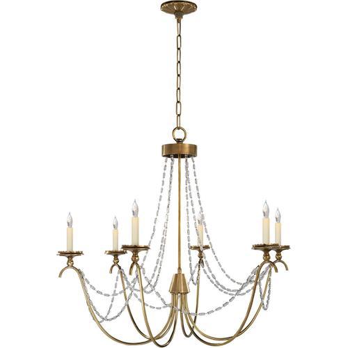Visual Comfort - E. F. Chapman Marigot 6 Light 33 inch Antique-Burnished Brass Chandelier Ceiling Light