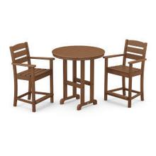View Product - Lakeside 3-Piece Round Counter Arm Chair Set in Teak