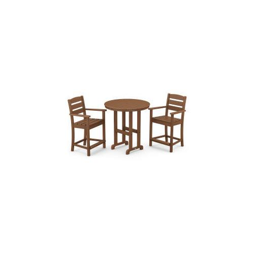 Polywood Furnishings - Lakeside 3-Piece Round Counter Arm Chair Set in Teak