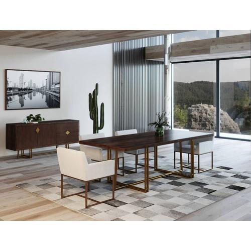 VIG Furniture - Modrest Patty - Mid-century Acacia & Brass Dining Table