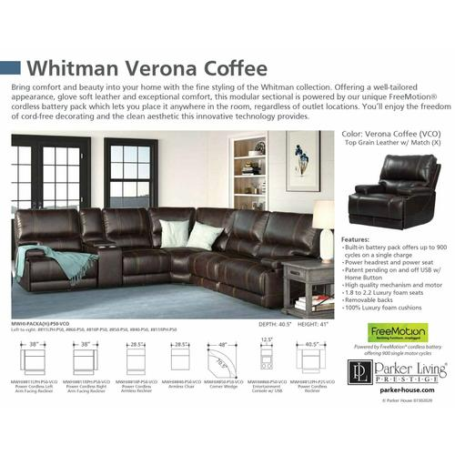 WHITMAN - VERONA COFFEE - Powered By FreeMotion Cordless Armless Chair
