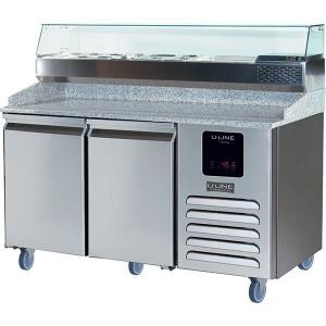 U-Line2 Door Pizza Prep-table Refrigerator + Condiment Rail With Stainless Solid Finish (115v/60 Hz Volts /60 Hz Hz)