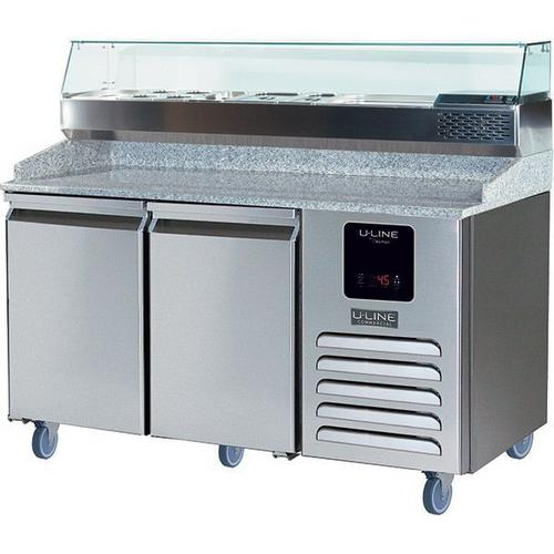 U-Line - 2 Door Pizza Prep-table Refrigerator + Condiment Rail With Stainless Solid Finish (115v/60 Hz Volts /60 Hz Hz)