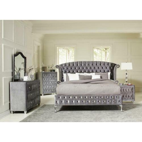 Deanna Bedroom Traditional Metallic Eastern King Bed