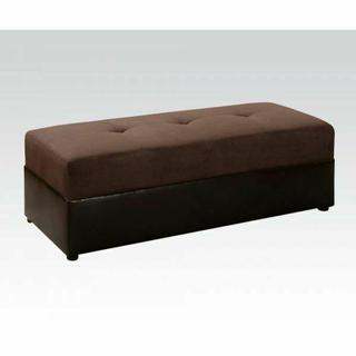 ACME Lakeland Ottoman - 15777W - Chocolate Microfiber & Espresso PU