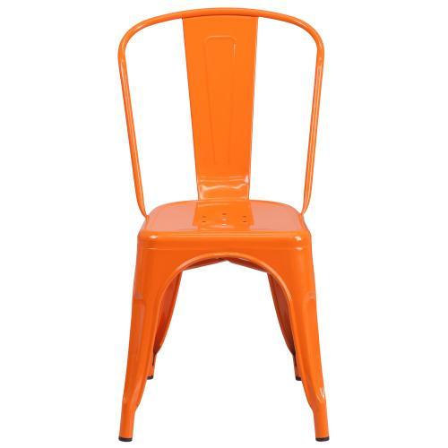 Alamont Furniture - Orange Metal Indoor-Outdoor Stackable Chair