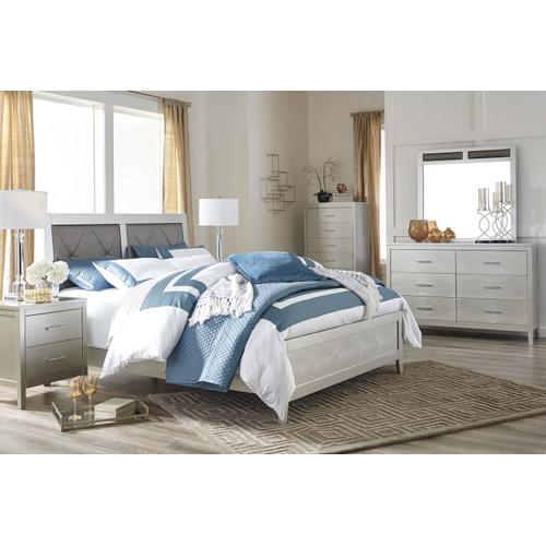 B560 Silver Upholstered Queen Bed (Olivet)