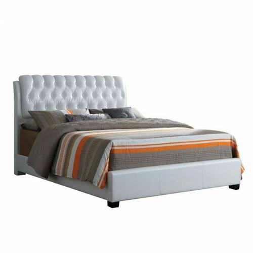 ACME Ireland II Eastern King Bed (Button Tufted) - 25347EK - White PU