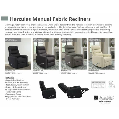 Parker House - HERCULES - BLACK Manual Swivel Glider Recliner