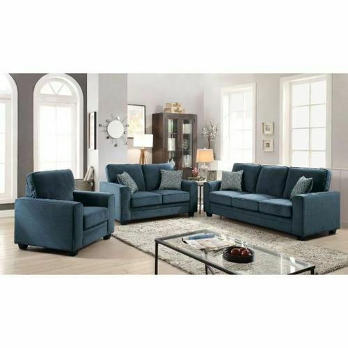 ACME Catherine Loveseat w/2 Pillows - 52291 - Blue Fabric