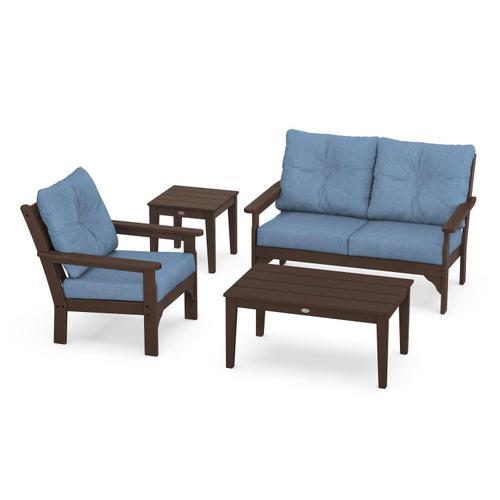 Vineyard 4-Piece Deep Seating Set in Mahogany / Sky Blue