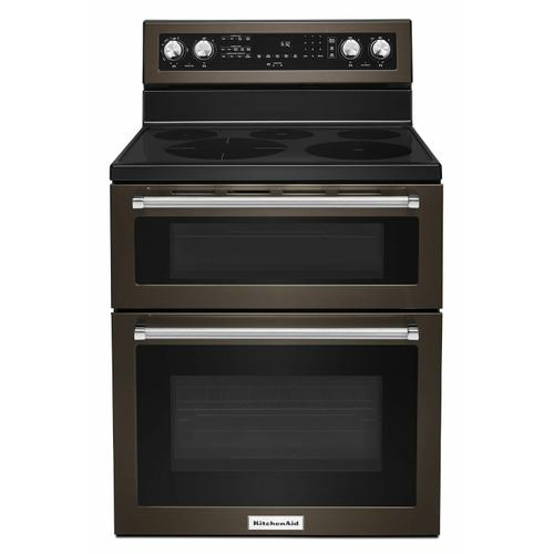 KitchenAid - 30-Inch 5 Burner Electric Double Oven Convection Range - Black Stainless Steel with PrintShield™ Finish