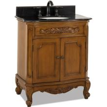 "30-1/2"" Caramel vanity with Antique Brass hardware, carved floral onlays, French scrolled legs, and preassembled Black Granite top and oval bowl"