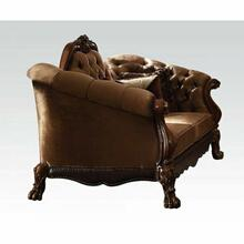 ACME Dresden Loveseat w/5 Pillows - 52096 - Golden Brown Velvet & Cherry Oak