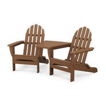 View Product - Classic Folding Adirondacks with Connecting Table in Teak