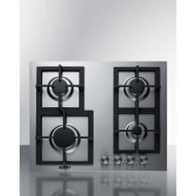 4-burner Gas Cooktop Made In Italy With Sealed Burners, Multiple Heating Outputs, A 304 Grade Stainless Steel Surface, and Continuous Cast Iron Grates for Added Durability