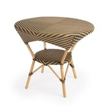 Evoking images of sidewalk tables in the Cote d'Azur, Dinning Table like this will give your kitchen or patio the casual sophistication of a Mediterranean coastal bistro. Expertly crafted from thick bent rattan for superb durability, it features weather resistant woven plastic in a black and beige striped pattern.