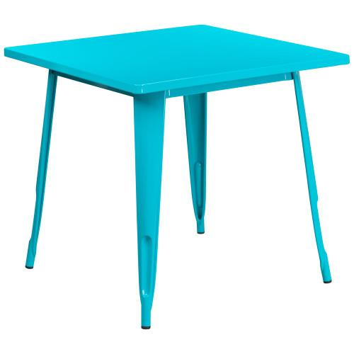31.5'' Square Crystal Teal-Blue Metal Indoor-Outdoor Table