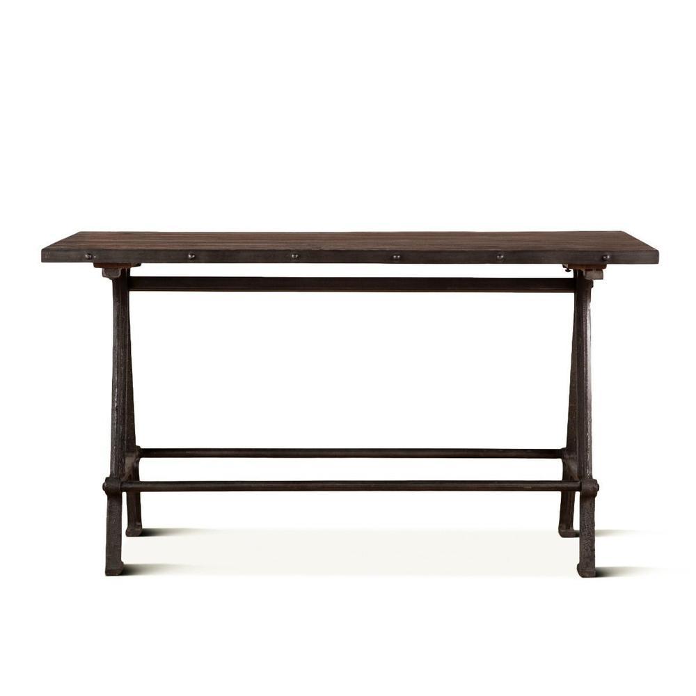 """Industrial Teak 66"""" Reclaimed Wood Gathering Table"""