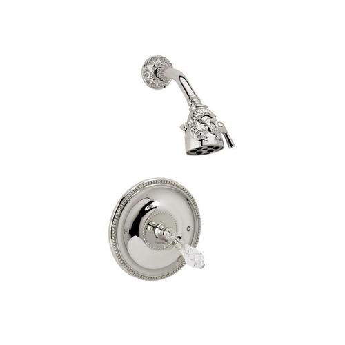 DOLPHIN Pressure Balance Shower Set Cut Crystal Lever Handle PB3184 - Satin Gold with Satin Nickel