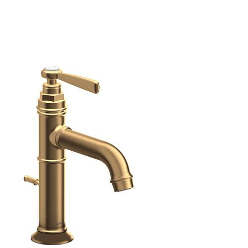 Brushed Brass Single lever basin mixer 100 with lever handle and pop-up waste set