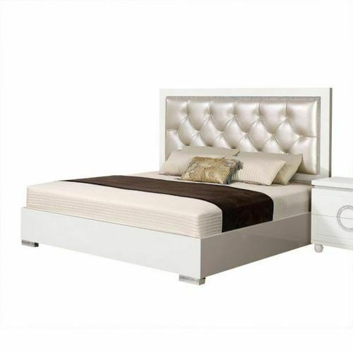 ACME Vivaldi Eastern King Bed - 20237EK - Pearl PU & White High Gloss