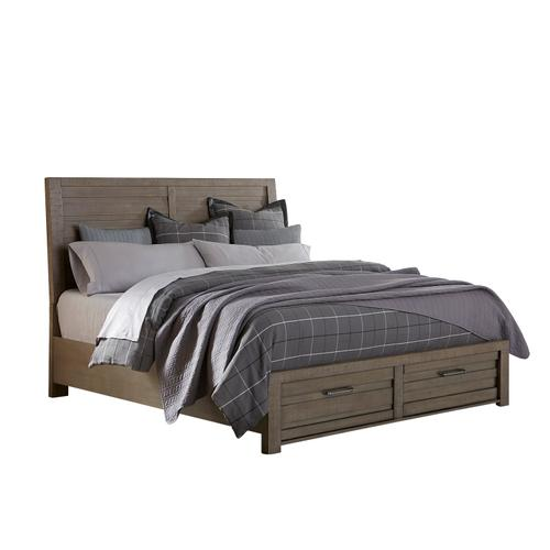 Ruff Hewn Queen Panel Bed Storage Footboard in Weathered Taupe