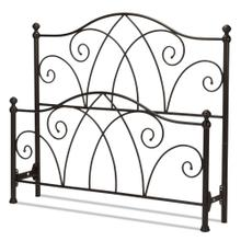 See Details - Deland Metal Headboard and Footboard Bed Panels with Arched Rails and Finial Posts, Brown Sparkle Finish, Queen