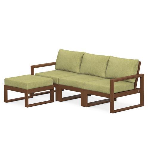 Polywood Furnishings - EDGE 4-Piece Modular Deep Seating Set with Ottoman in Teak / Chartreuse Boucle