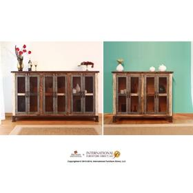 """See Details - 48"""" Console w/4 Iron Mesh Doors Panels & Middle Shelf"""