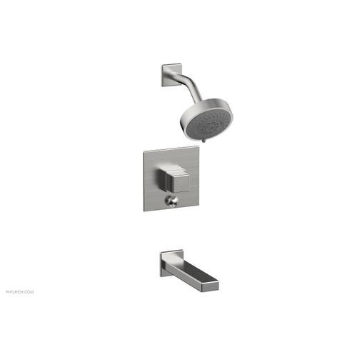 MIX Pressure Balance Tub and Shower Set - Cube Handle 290-29 - Satin Chrome