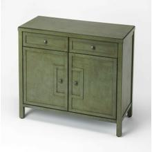 See Details - This stylish console cabinet combines Modern minimalism with Eastern design elements. Featuring clean lines and a green finish reminiscent of a Japanese Zen garden, its inner storage cabinet and two drawers make it a great addition in an entryway, hallway or living room. Crafted from bayur wood solids and wood products with nickel finished hardware.