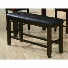 ACME Urbana Counter Height Bench - 74634 - Black PU & Espresso