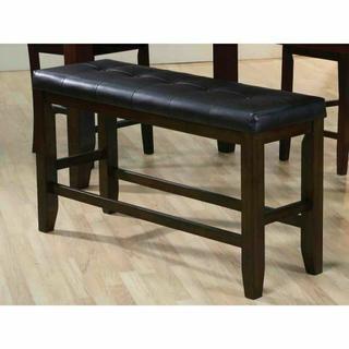ACME Urbana Counter Height Bench - 74634 - Black PU & Espresso