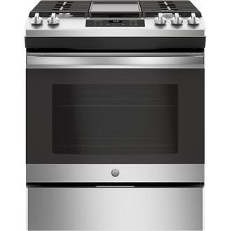 "GE® 30"" Slide-In Front Control Gas Range Product Image"